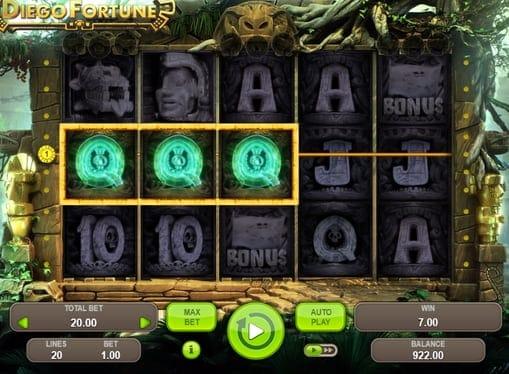 Выигрышная комбинация символов в Diego Fortune