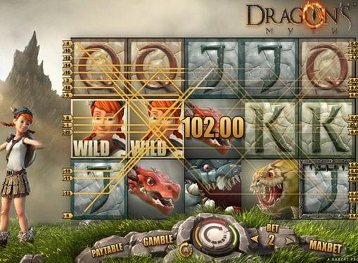 Крупный выигрыш за комбинации в Dragon's Myth