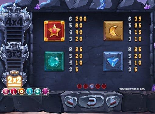 Выплаты за символы в игре Gem Rocks