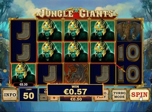 Призовая комбинация символов в игре Jungle Giants
