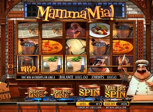 Призовая комбинация с диким знаком в игре Mamma Mia