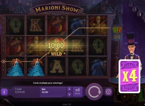 Выигрышная комбинация с диким знаком в игре Marioni Show