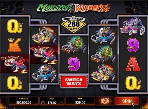 Призовая комбинация символов в игре Monster Wheels