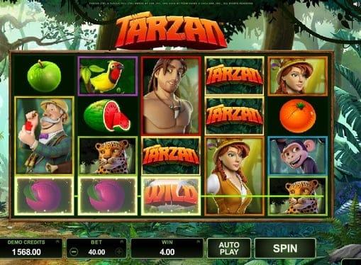 Дикий знак в призовой комбинации игры Tarzan