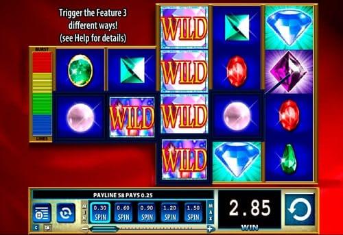 Призовая комбинация с Wild в онлайн игре Glitz
