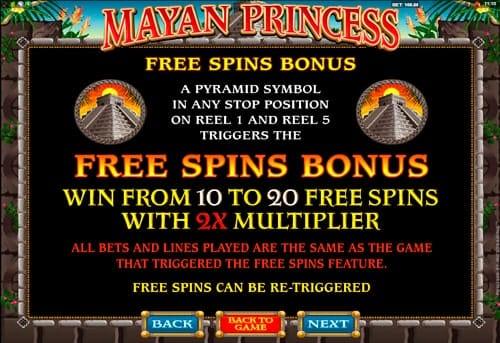 Фриспины в онлайн игре Mayan Princess
