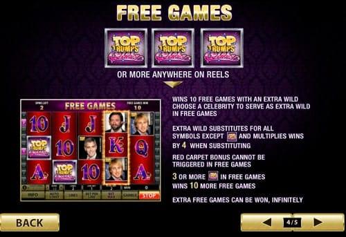 Фриспины в онлайн игре Top Trump's Celebs