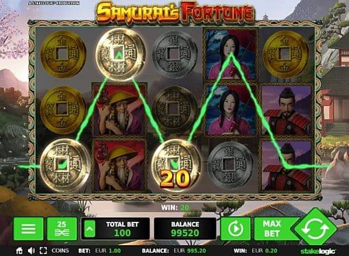 Выигрышная комбинация с диким знаком в Samurai's Fortune