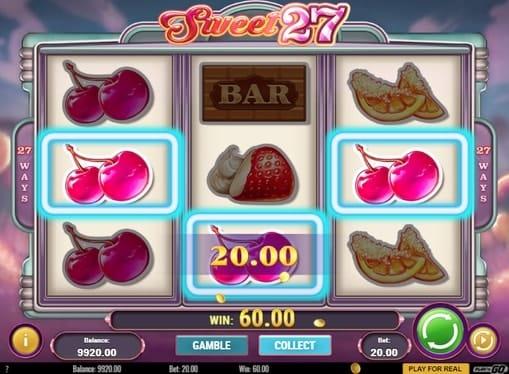 Комбинация из вишенок в Sweet 27