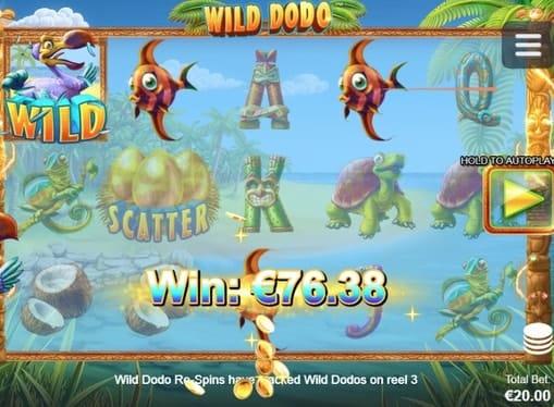 Выигрышная комбинация с диким знаком в Wild Dodo