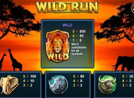 Таблица выплат в Wild Run