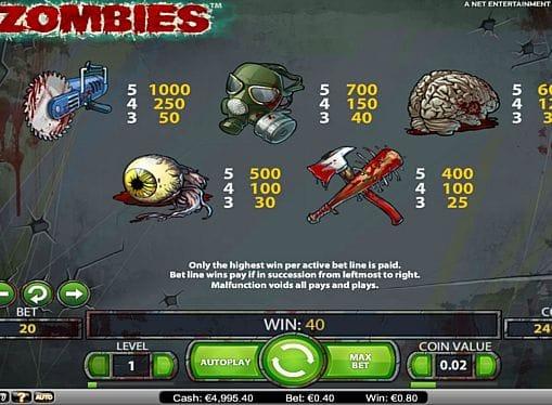 Таблица выплат в Zombies онлайн